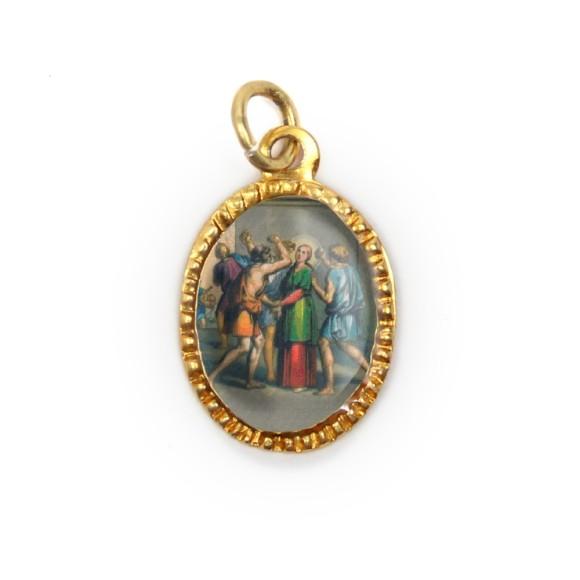 MD103077P10 - Medalha de Alumínio Oval Dourada c/ 10un. Santa Apôlonia - 2X1,3cm