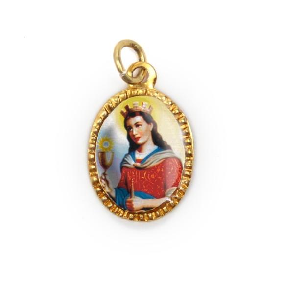 MD103078P10 - Medalha de Alumínio Oval Dourada c/ 10un. Santa Bárbara - 2X1,3cm