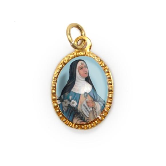 MD103079P10 - Medalha de Alumínio Oval Dourada c/ 10un. Santa Beatriz - 2X1,3cm