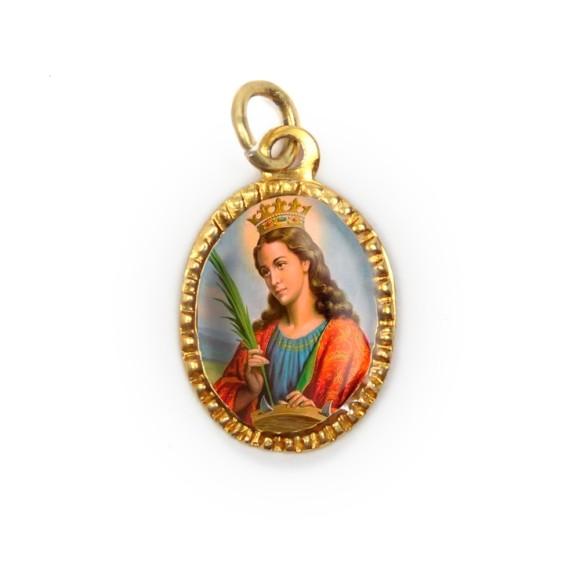 MD103080P10 - Medalha de Alumínio Oval Dourada c/ 10un. Santa Catarina - 2X1,3cm