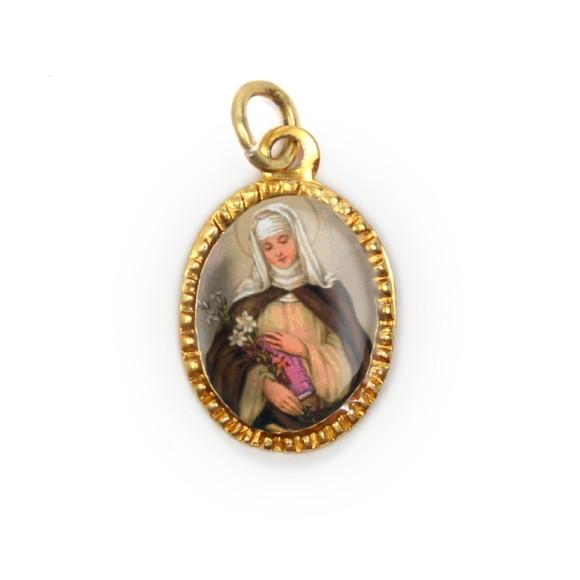 MD103082P10 - Medalha de Alumínio Oval Dourada c/ 10un. Santa Catarina de Siena - 2X1,3cm
