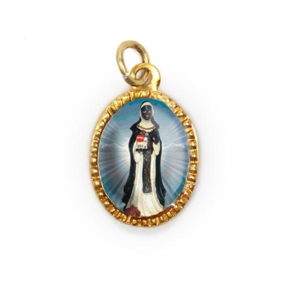 MD103089P10 - Medalha de Alumínio Oval Dourada c/ 10un. Santa Efigênia - 2X1,3cm