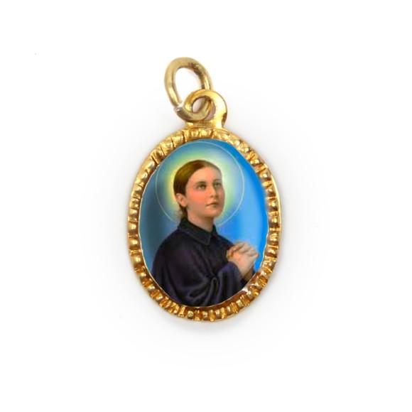 MD103093P10 - Medalha de Alumínio Oval Dourada c/ 10un. Santa Gemma Galgani - 2X1,3cm
