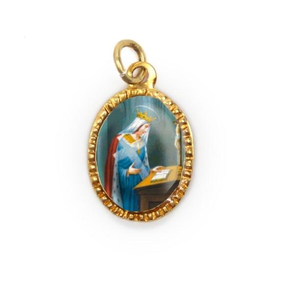 MD103094P10 - Medalha de Alumínio Oval Dourada c/ 10un. Santa Helena - 2X1,3cm