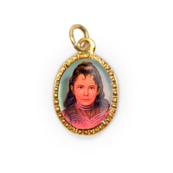 MD103097P10 - Medalha de Alumínio Oval Dourada c/ 10un. Santa Izildinha - 2X1,3cm