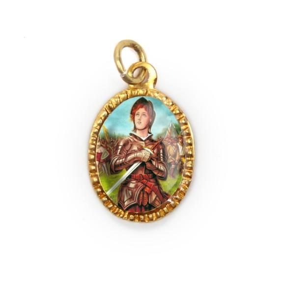 MD103098P10 - Medalha de Alumínio Oval Dourada c/ 10un. Santa Joana D'Arc - 2X1,3cm