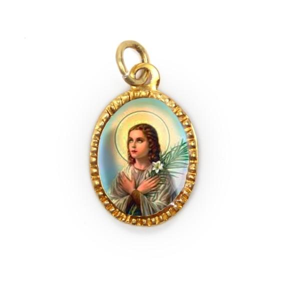 MD103104P10 - Medalha de Alumínio Oval Dourada c/ 10un. Santa Maria Goretti - 2X1,3cm