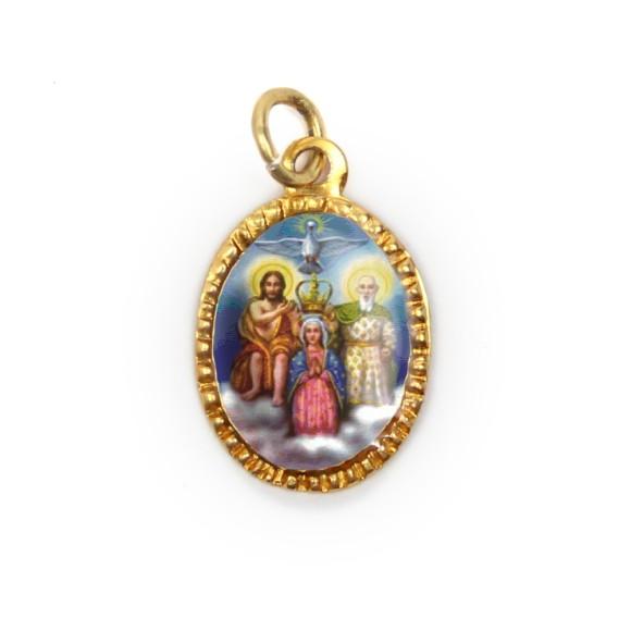 MD103202P10 - Medalha de Alumínio Oval Dourada c/ 10un. Divino Pai Eterno - 2X1,3cm