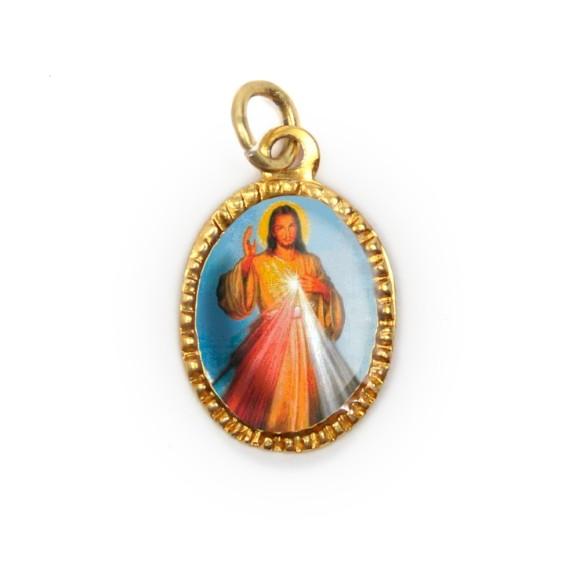 MD103207P10 - Medalha de Alumínio Oval Dourada c/ 10un. Jesus Misericordioso - 2X1,3cm
