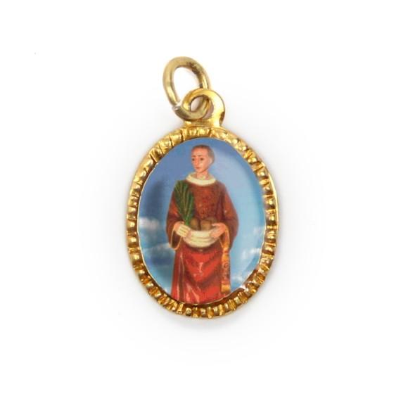 MD103225P10 - Medalha de Alumínio Oval Dourada c/ 10un. Santo Estevão - 2X1,3cm