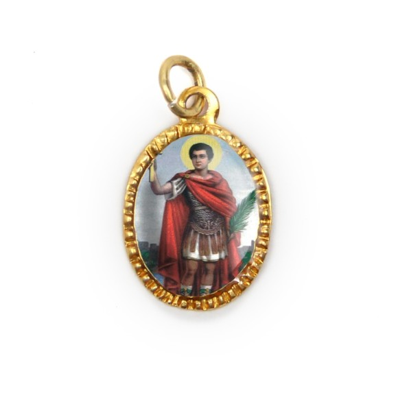 MD103226P10 - Medalha de Alumínio Oval Dourada c/ 10un. Santo Expedito - 2X1,3cm