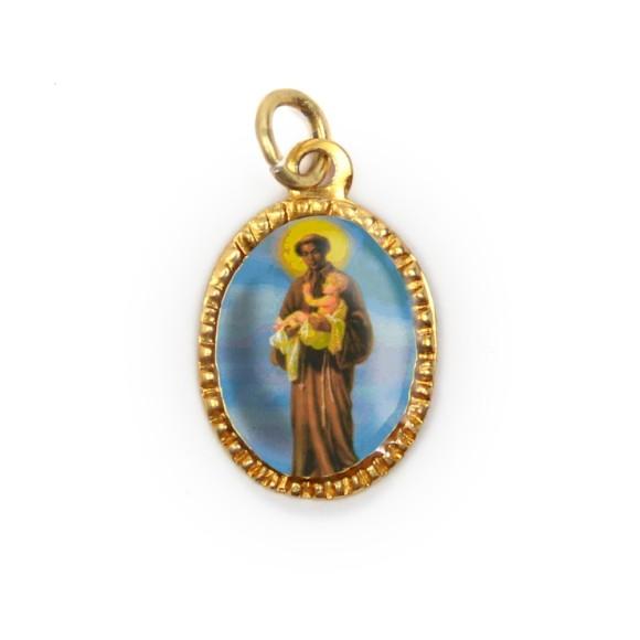 MD103231P10 - Medalha de Alumínio Oval Dourada c/ 10un. São Benedito - 2X1,3cm