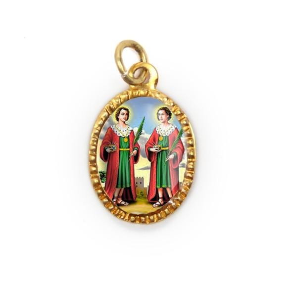 MD103234P10 - Medalha de Alumínio Oval Dourada c/ 10un. São  Cosme e Damião - 2X1,3cm