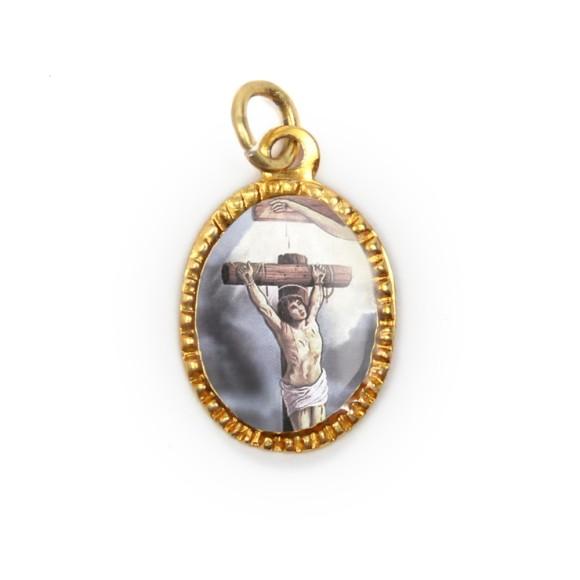 MD103237P10 - Medalha de Alumínio Oval Dourada c/ 10un. São  Dimas - 2X1,3cm