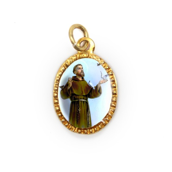 MD103239P10 - Medalha de Alumínio Oval Dourada c/ 10un. São  Francisco Assis - 2X1,3cm