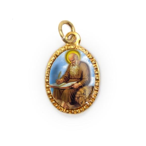 MD103246P10 - Medalha de Alumínio Oval Dourada c/ 10un. São Jerônimo - 2X1,3cm