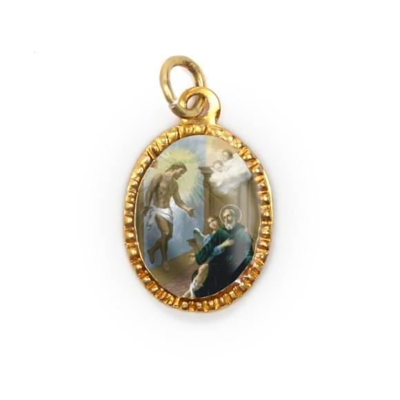 MD103271P10 - Medalha de Alumínio Oval Oval Dourada c/ 10un. São Peregrino - 2X1,3cm