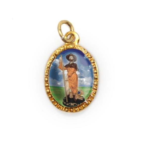 MD103272P10 - Medalha de Alumínio Oval Dourada c/ 10un. São Roque - 2X1,3cm