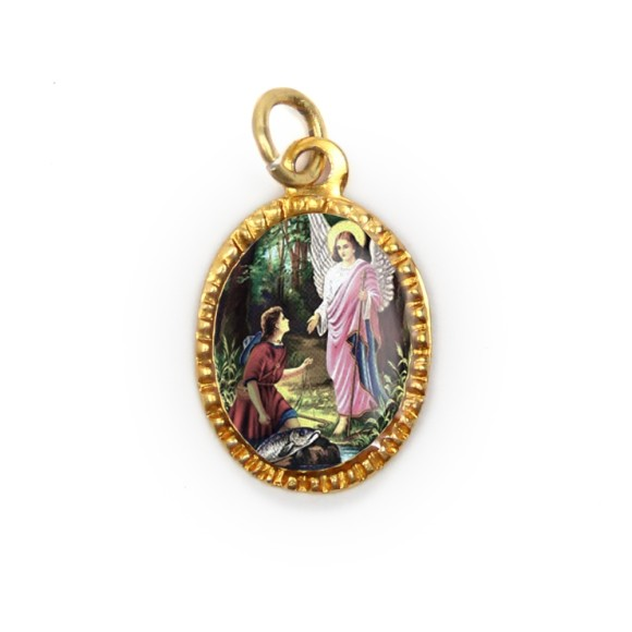 MD103411P10 - Medalha de Alumínio Oval Dourada c/ 10un. São Rafael Arcanjo - 2X1,3cm