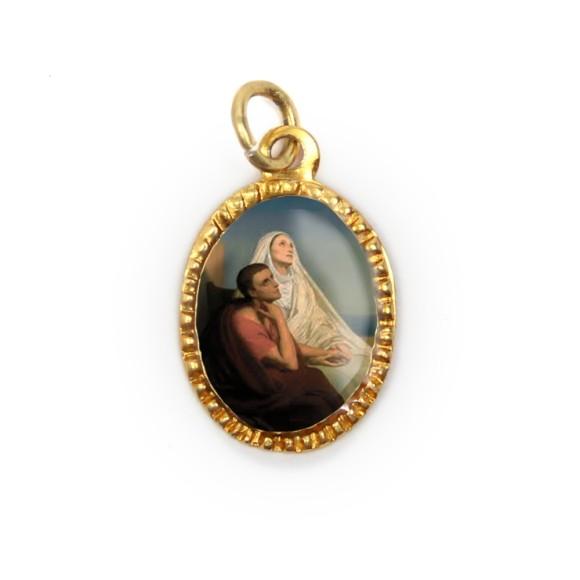 MD103416P10 - Medalha de Alumínio Oval Dourada c/ 10un. Santa Mônica e Santo Agostinho - 2X1,3cm