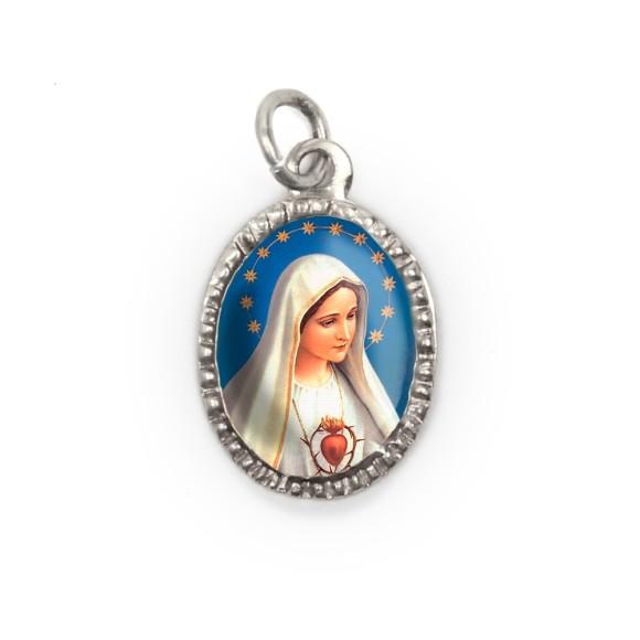 MD103600P10 - Medalha de Alumínio Oval Prata c/ 10un. Imaculado Coração de Maria - 2X1,3cm