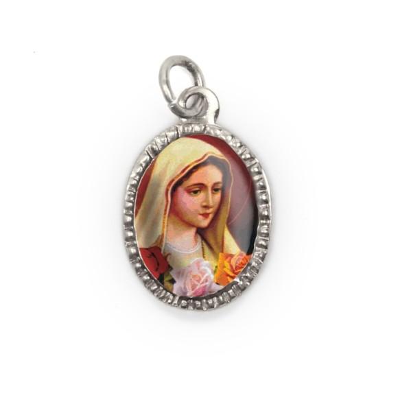 MD103616P10 - Medalha de Alumínio Oval Prata c/ 10un. N. Sra. De Rosa Mística - 2X1,3cm