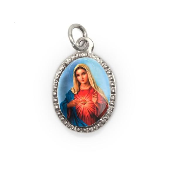 MD103617P10 - Medalha de Alumínio Oval Prata c/ 10un. Sagrado Coração de Maria - 2X1,3cm
