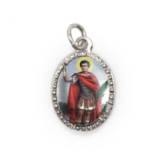 MD103816P10 - Medalha de Alumínio Oval Prata c/ 10un. Santo Expedito - 2X1,3cm