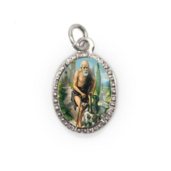 MD103827P10 - Medalha de Alumínio Oval Prata c/ 10un. São Lázaro - 2X1,3cm