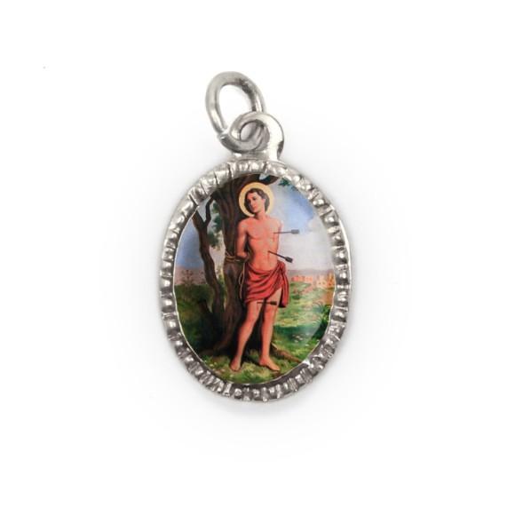MD103832P10 - Medalha de Alumínio Oval Prata c/ 10un. São Sebastião - 2X1,3cm