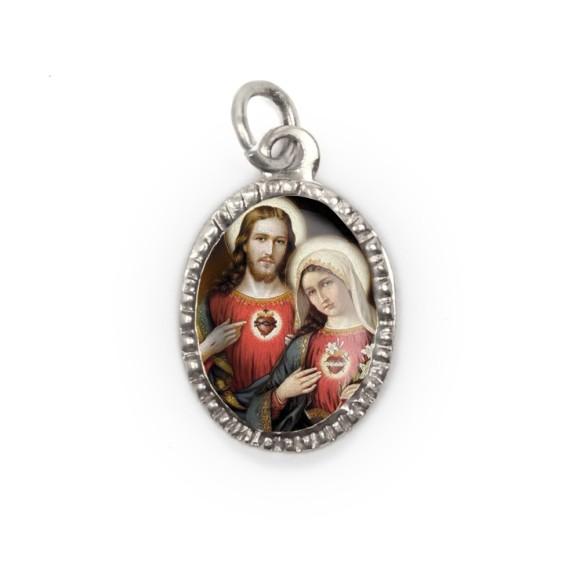 MD103912P10 - Medalha de Alumínio Oval Prata c/ 10un. Sagrado Coração de Jesus e Maria - 2X1,3cm