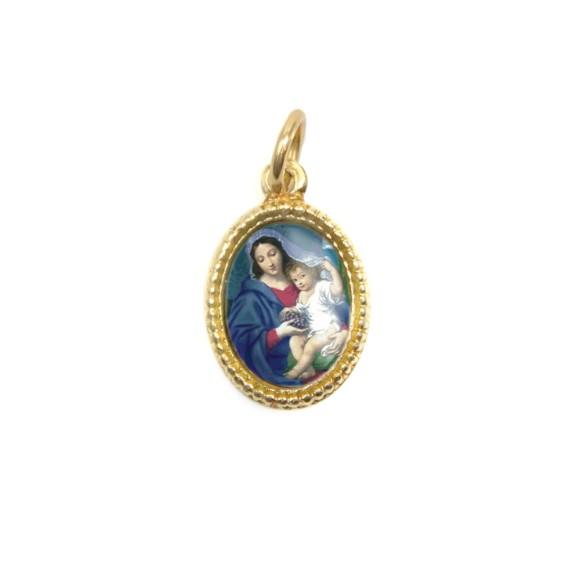 MD102006P20 - Medalha de Alumínio Oval Dourada c/ 20un. N. Sra. Da Divina Providência - 1,5x1cm