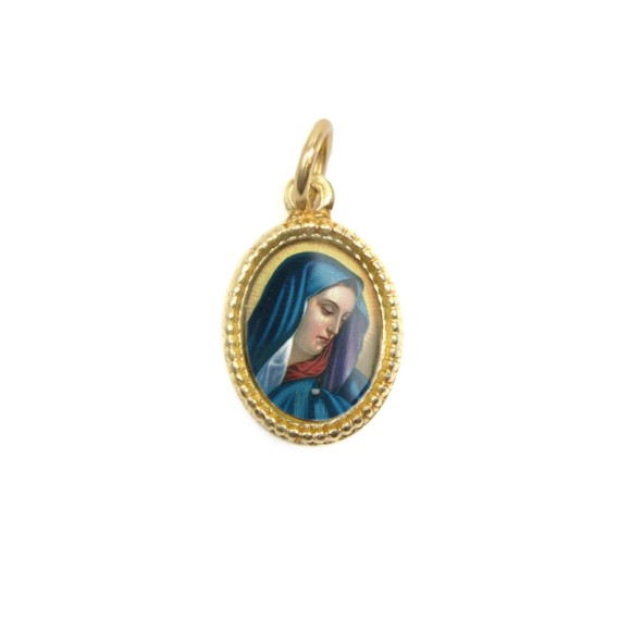 MD102008P20 - Medalha de Alumínio Oval Dourada c/ 20un. N. Sra. Das Dores - 1,5x1cm