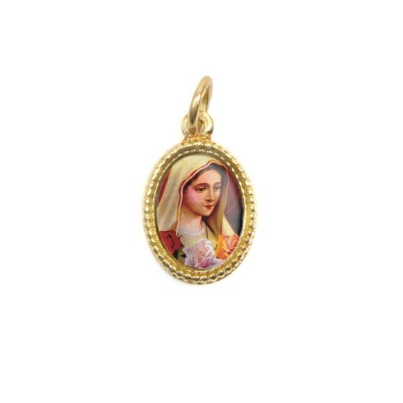 MD102015P20 - Medalha de Alumínio Oval Dourada c/ 20un. N. Sra. De Rosa Mística - 1,5x1cm