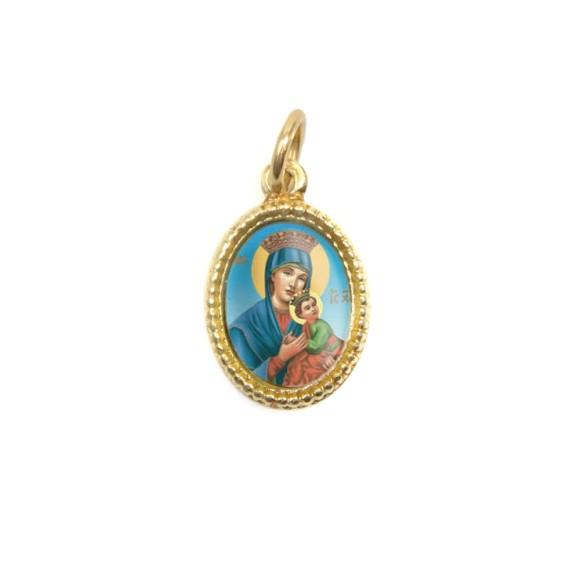 MD102019P20 - Medalha de Alumínio Oval Dourada c/ 20un. N. Sra. Do Perpétuo Socorro - 1,5x1cm