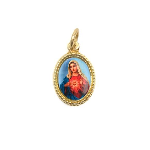 MD102021P20 - Medalha de Alumínio Oval Dourada c/ 20un. Sagrado Coração de Maria - 1,5x1cm