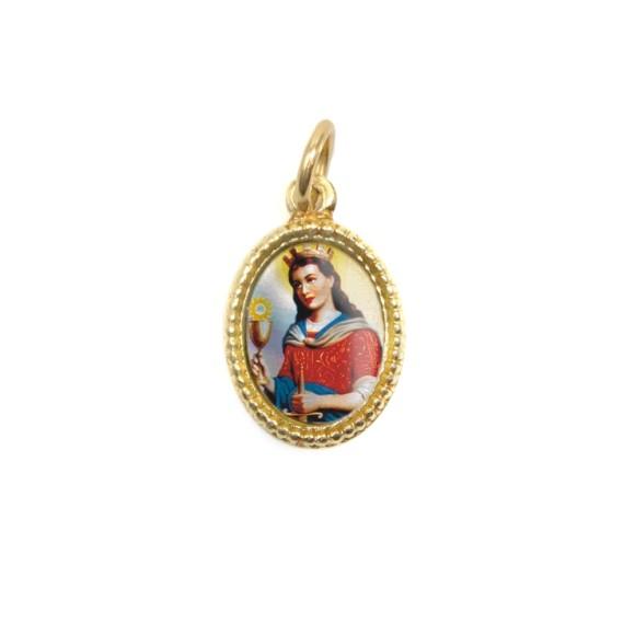 MD102023P20 - Medalha de Alumínio Oval Dourada c/ 20un. Santa Bárbara - 1,5x1cm