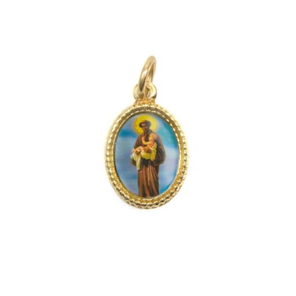 MD102212P20 - Medalha de Alumínio Oval Dourada c/ 20un. São Benedito - 1,5x1cm