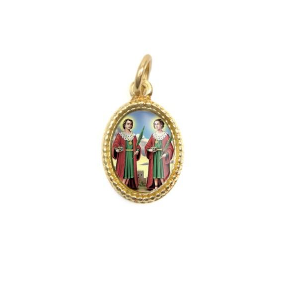 MD102213P20 - Medalha de Alumínio Oval Dourada c/ 20un. São  Cosme e Damião - 1,5x1cm
