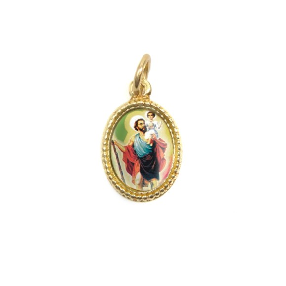MD102214P20 - Medalha de Alumínio Oval Dourada c/ 20un. São  Cristovão - 1,5x1cm