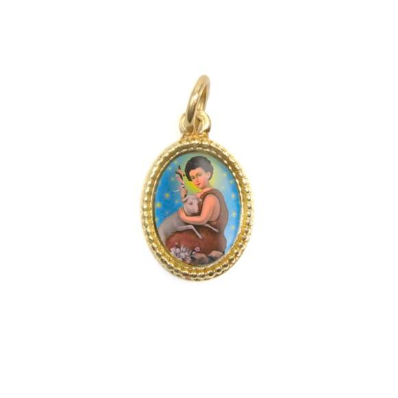 MD102216P20 - Medalha de Alumínio Oval Dourada c/ 20un. São  João Batista - 1,5x1cm
