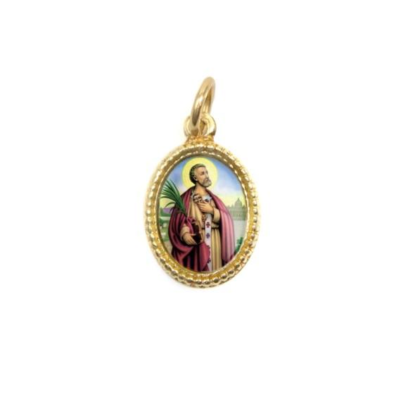 MD102219P20 - Medalha de Alumínio Oval Dourada c/ 20un. São  Pedro - 1,5x1cm