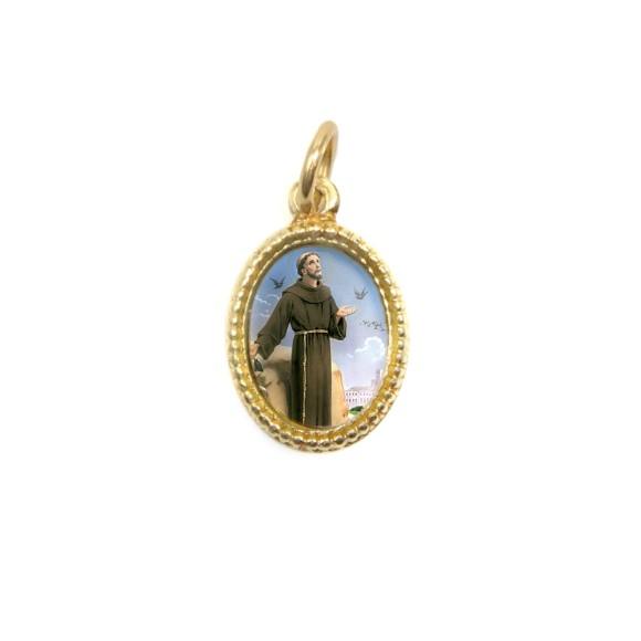 MD102220P20 - Medalha de Alumínio Oval Dourada c/ 20un. São Francisco Assis - 1,5x1cm