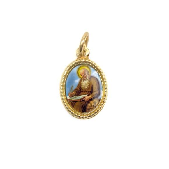 MD102221P20 - Medalha de Alumínio Oval Dourada c/ 20un. São Jerônimo - 1,5x1cm