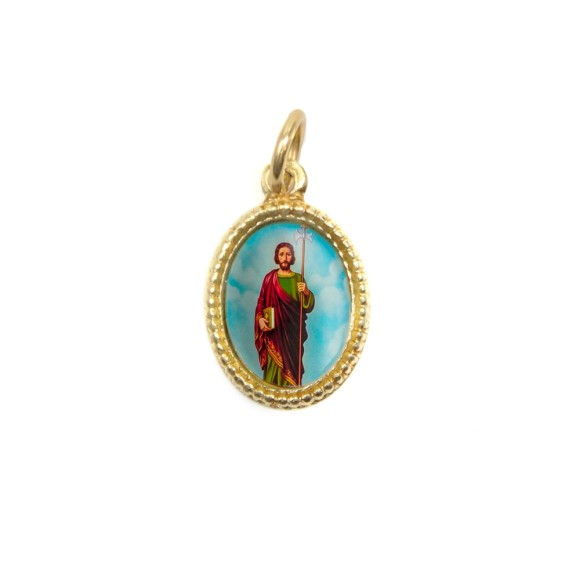 MD102224P20 - Medalha de Alumínio Oval Dourada c/ 20un. São Judas  - 1,5x1cm