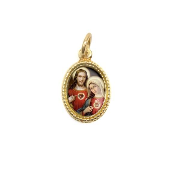 MD102309P20 - Medalha de Alumínio Oval Dourada c/ 20un. Sagrado Coração de Jesus e Maria - 1,5x1cm