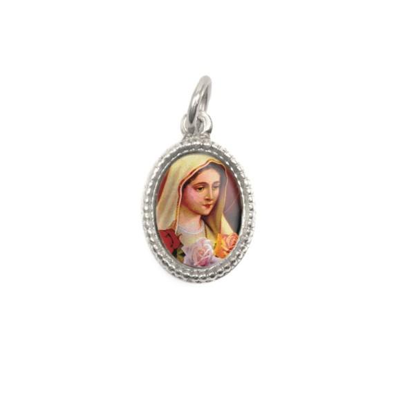 MD102409P20 - Medalha de Alumínio Oval Prata c/ 20un. N. Sra. De Rosa Mística - 1,5x1cm