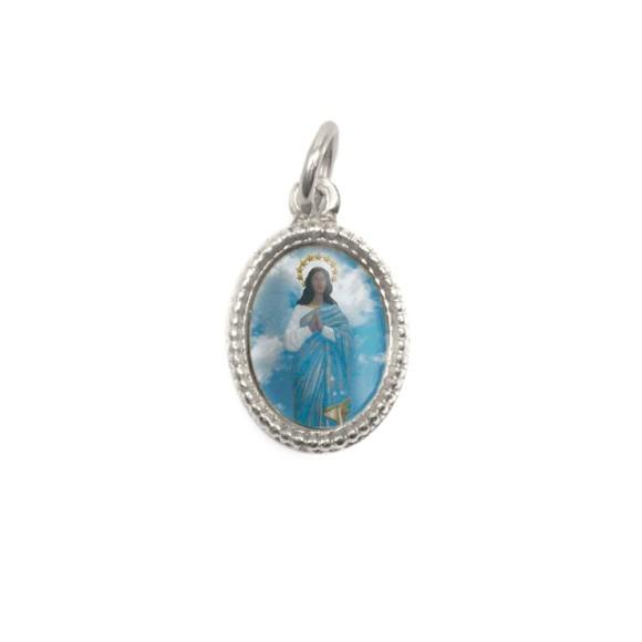 MD102420P20 - Medalha de Alumínio Oval Prata c/ 20un. Santa Sara Kali - 1,5x1cm