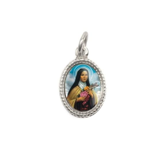 MD102421P20 - Medalha de Alumínio Oval Prata c/ 20un. Santa Terezinha das Rosas - 1,5x1cm