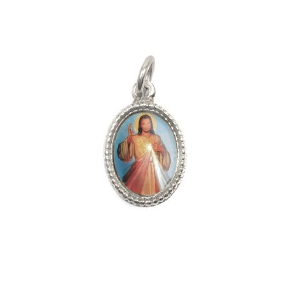 MD102500P20 - Medalha de Alumínio Oval Prata c/ 20un. Jesus Misericordioso - 1,5x1cm